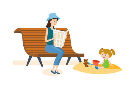 two child: Mom walks in the park with her daughter and reading.