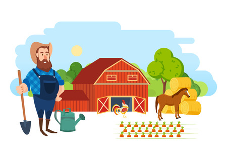 plot: A farmer on his agricultural plot, is engaged in ennoblement.