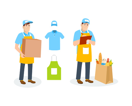 Specialist shipping department, branded clothing, supplies of environmentally friendly products. Illustration