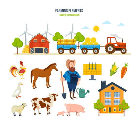 Farm warehouse, tractor with hay, animals, fruits, vegetables, rural place.