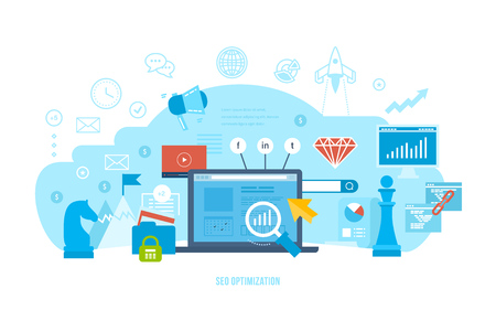 white achievement: Information technology, seo optimization, market research and analysis, financial performance, achievement of objectives, planning of business ideas. Vector illustration isolated on white background.