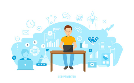 Information technology, seo optimization, market research and analysis, financial performance, achievement of objectives, planning of business ideas. Vector illustration isolated on white background.
