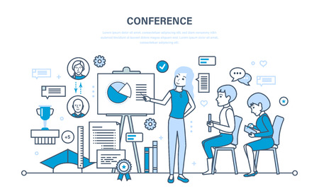 conducting: Conducting business conferences, statistical analysis of the financial performance reports. Illustration