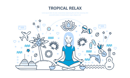 Young girl vacationing in warm countries, relaxes, restores strength. Ilustração