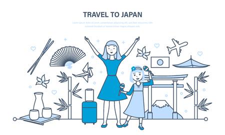 Mama met dochter reist naar Japan, kennismaken met cultuur, bezienswaardigheden.