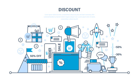 vouchers: Discounts, vouchers, schemes and gifts, savings programs and lower prices. Illustration