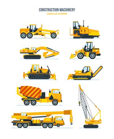 road grader: Construction machines, trucks, vehicles for transportation, asphalt, concrete mixing, crane.