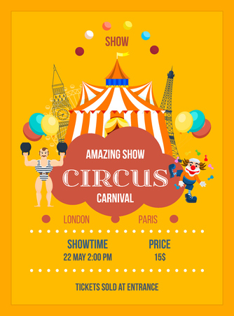 Invitation to the circus in the form of posters, decorated. Illustration