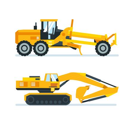 Machines de chantier, camions, véhicules pour le transport, l'asphalte, béton, grue.