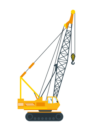 hoisting: Construction machinery tall crane lifts the concrete slab or releases.