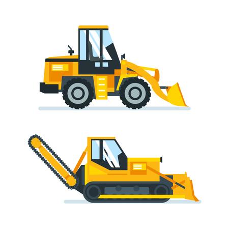 Machine voor het snijden, stapelen van asfalt, vrachtwagens voor schoonmaakgebieden. Vector Illustratie