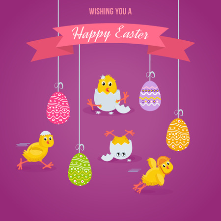 pamper: Lovely chickens have fun, celebrate, indulge, in Easter, run, fly.