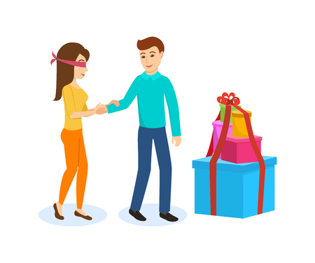 Male leads girl, to the side large boxes of gifts.
