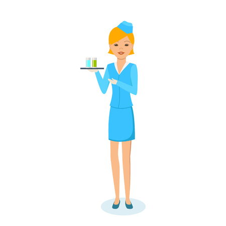 carries: Girl in beautiful clothes of stewardess, carries tray with drinks.