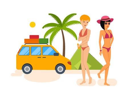 Tanned girls in bikini rest during a vacation at sea. Illustration