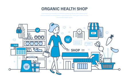 mujer en el supermercado: Shop organic products, counter with products, ordering and purchasing goods. Vectores