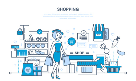mujer en el supermercado: Girl has made purchases in mall, selecting products and ordering. Vectores