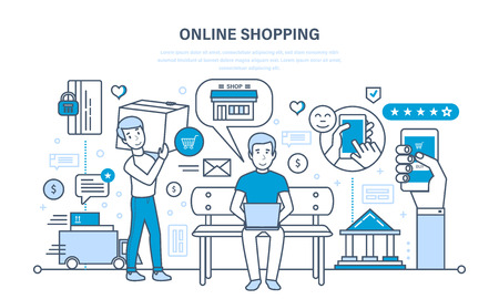 adding: Shopping, product selection, adding items to cart, payment and shipping.