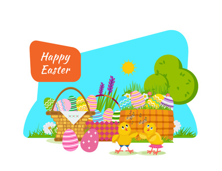 Two chicks frolic and have fun next to Easter basket. Illustration