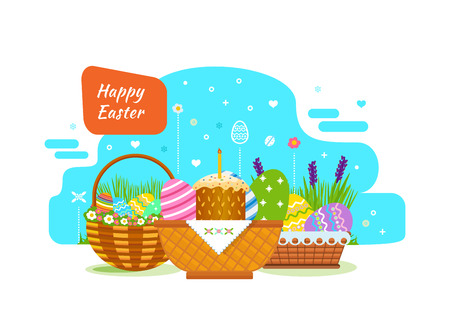 Festive beautiful Easter baskets with painted eggs, flowers and bakery products. Illustration