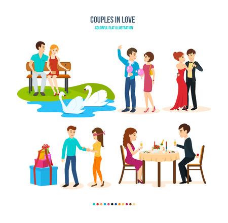 parejas enamoradas: Jóvenes parejas amorosas pasan su tiempo juntos en diferentes entornos.
