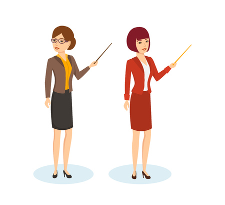 tells: Businesswoman conducts the conference, teacher tells learning material. Illustration