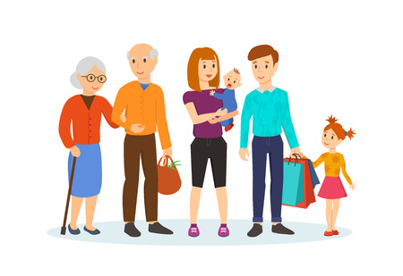 family: Family with children in shopping center next to old grandparents. Illustration