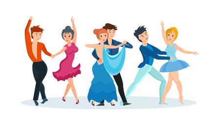Couples dance modern dances: passionate tango, gentle waltz, beautiful ballet. Illustration