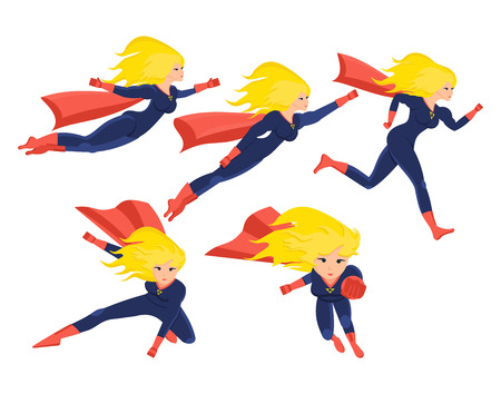 Set of female superhero in different situations and poses.