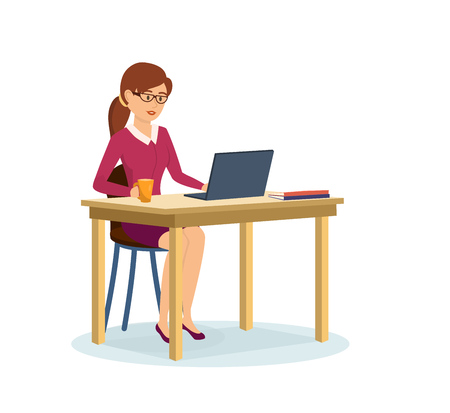 Girl in strict clothes, working at computer in the cabinet. Illustration