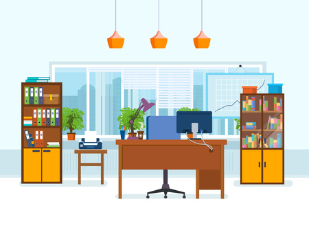 Office interior of the room, with working furniture, lighting. Illustration