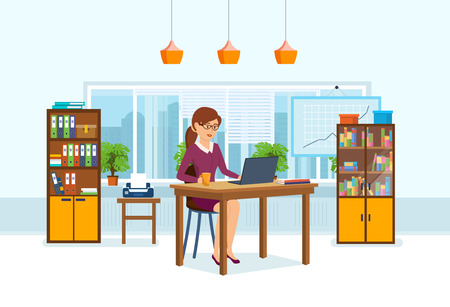 Girl in strict clothes, working at computer in the office. Illustration