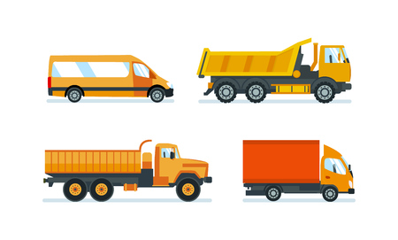 semitrailer: Lorries for transportation of goods, construction materials and resources.