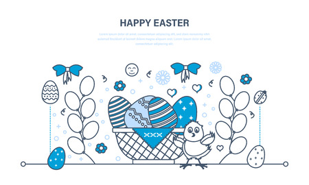 beautifully: Beautifully decorated eggs lie in basket, chick on background balls.