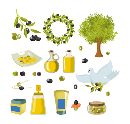 Olive isolated icon set with products and decorations from olives.