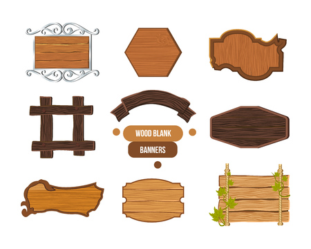plywood: Wooden sign, various shapes, colors, textures of wood and metal.