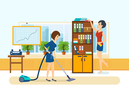 Girls, employees of the office, clean the cabinet.