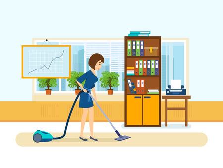Fille, employés du bureau, nettoyer le cabinet. Banque d'images - 75086484