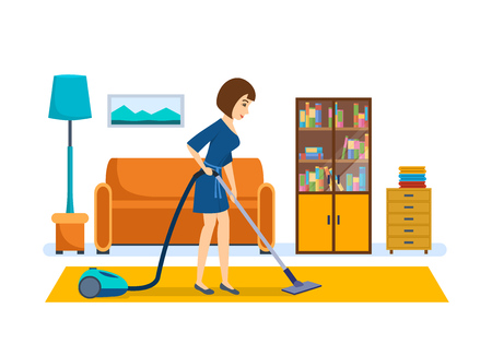 Het meisje schoonmaakt, stofzuigt in de kamer, zet in orde