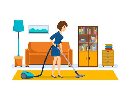 Niña es la limpieza, pasar la aspiradora en la sala, con el fin de poner
