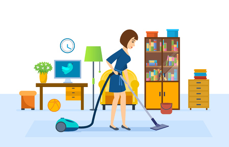 vacuuming: Girl is cleaning, vacuuming in the room, putting in order