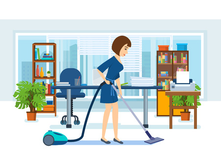 cleaning service: Girl, employees of the office, clean the cabinet.