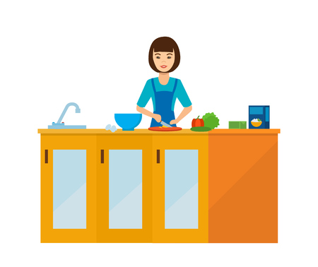 Housewife girl in the kitchen at the table, preparing food. Illustration