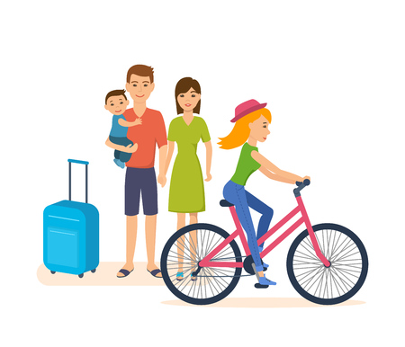 Summer trip: family with child, girl rides bike through city.