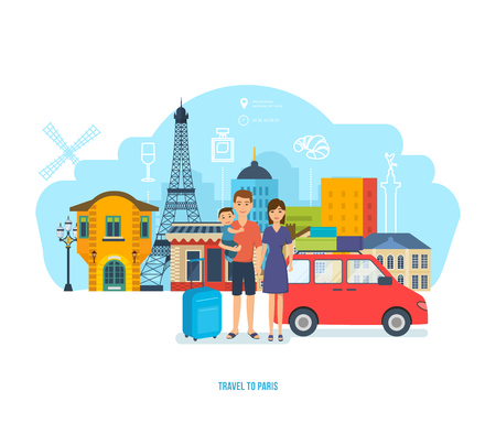 french culture: The young family travels together, spends time, traveling by car.