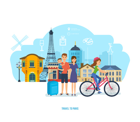 french culture: People traveling concept. The young family travel to Paris together, spends time, traveling by car, getting to know the city, traditions, sights. Vector illustration isolated in cartoon style.