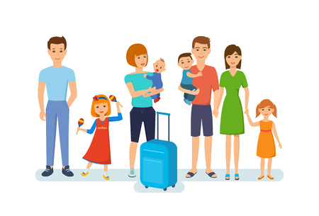 happy woman: People traveling concept. Young families with children, joint time, rest and fun, entertainment, travel. Vector illustration isolated in cartoon style. Illustration