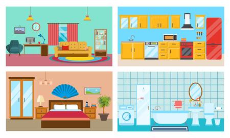 luxury living room: Modern interior of rooms: living room, kitchen, bedroom, stylish bathroom. Illustration