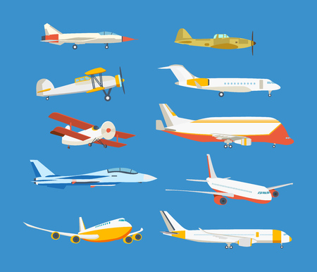 Types of airplane: passenger, civil, airbus, military, biplane, airplane high-rise.