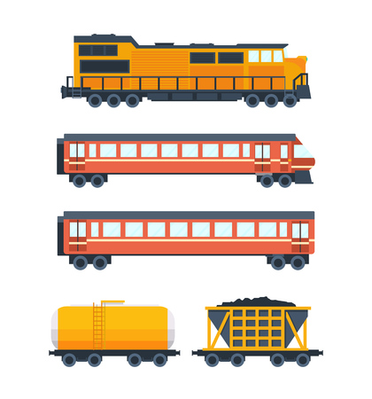 waggon: Steam locomotive with various wagons. Wagons with passengers, freight, cisterns.
